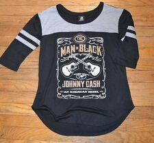 Johnny Cash The Man in Black Juniors 3/4 Sleeve Top Officially Licensed Zion Tee