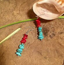 Navajo style Sterling silver 925' earrings, Turquoise  and coral chips beads ..
