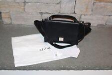 Celine Small Mini Handbag Trapeze 2-Way Calfskin Suede 174683MDB.38NO Black NEW