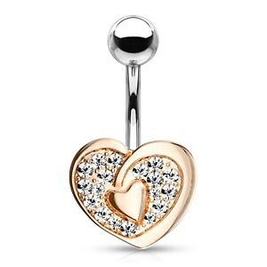 """DOUBLE HEART CZ PAVED BELLY BUTTON RING NAVEL PIERCING BODY JEWELRY (14G 3/8"""")"""