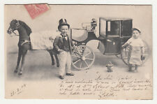*** Fantaisie _ Enfants haut de forme devant mini calèche *** 1904 - CPA 1822