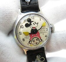 MICKEY MOUSE,1934 Ingersoll , Manual Wind,Orig Band CHARACTER WATCH,1144,L@@K!