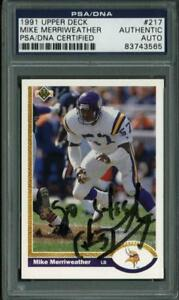 Vikings Mike Merriweather Authentic Signed Card 1991 Upper Deck #217 PSA Slabbed