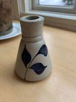 Williamsburg Pottery Inkwell Salt Glazed Cobalt Blue Leaf