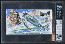 Joe Foss signed autograph auto Cover w/ Original Artwork USMC MOH 13/50 BAS Slab