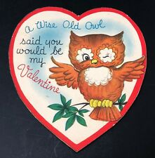 Sweet Vtg 1950's- 1960's Wise Owl Valentine Card Ephemera Greeting Die Cut Heart
