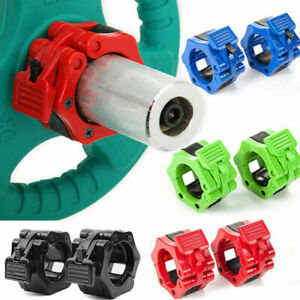 2Pcs Olympic 1-2'' Spinlock Collars Barbell Dumbell Clips Clamp Weight Bar Lock~