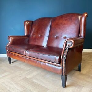 Antique Vintage Dutch Leather Sofa Wingback Lounge Atelier Couch Sofas Brown