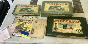 Three Meccano Dutch sets from 1928-29 with Paperwork.Nice Lot.