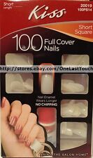 KISS* 100 FULL COVER Glue-On Nails SHORT SQUARE No Chip #20019/100PS14 New! 1/10