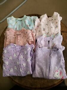 Newborn Girls Clothes Full Zip One Peices Lot Of 6 Carters