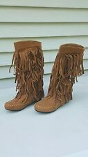 """NWT MUDD Adriana Tall Faux Suede Fringe Boho Winter  Boots Size 6    13.25"""" High"""