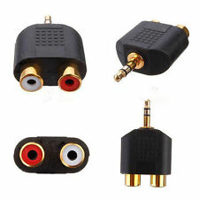 Black Gold Plated Stereo Male Plug to 2 RCA Female jack Y 3.5mm Adapter Tool