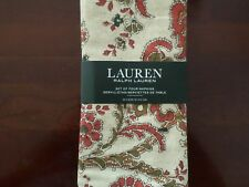 New Ralph Lauren Avery Paisley Tan Beige Green Red Holidays Napkins 4pc
