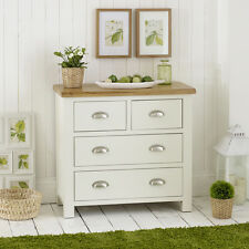 Cotswold Cream Painted 2 Over 2 Drawer Chest of Drawers with Oak Top - WT08