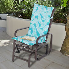 Outsunny 2-PC Patio Chaise Lounger Cushion Recliner Rocking Chair Cushion Blue