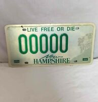 NEW HAMPSHIRE Sample Stamped License Plate Tag LIVE FREE OR DIE '00000' VGC