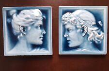 American Encaustic Ceramic Victorian Portrait Art Tile Blue Relief