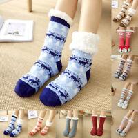 1 Pair Women Warm Soft Fuzzy Cozy Fleece Lined Winter Slipper Grippers Bed Socks