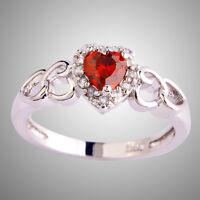 Heart Cut Ruby Spinel White Topaz Gemstone Silver Ring Sz L N P R T V Y Z (1/2)