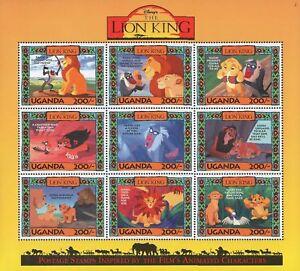 Disney Stamps - Uganda Lion King - Disney sheet of 9 Stamps #2 MNH