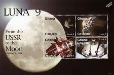 LUNA 9 Russian Spacecraft 1966 Soft Moon Landing 4v Space Stamp Sheet 2006 Ghana