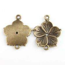 30x 143445 New Antique Bronze Charms Flower Alloy Connector Pendant Findings