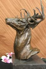 100% Bronze Deer Stag on Rock Ornament Figurine Scuplture Figure Home Decoration