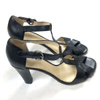 Lumiani Womens 8.5 Strappy Heels Leather Black Open Toe Sandals Ankle Italy