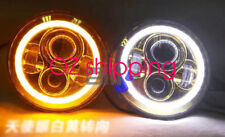 "2x 7"" LED headlight Flash DRL day Halo For MQ Y60 Nissan Patrol GQ Ford Maverick"