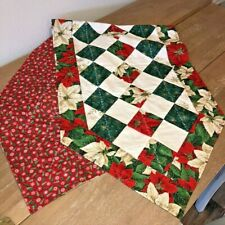 """Handmade Quilted Patchwork Table Runner Christmas Poinsettias Red 58""""x18"""" New"""