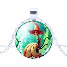 PIXIE ELF FAIRY ANGEL Ocean Mermaid Glass Cabochon Silver Chain Pendant Necklace