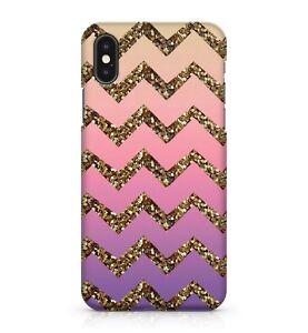 Golden Chevrons Purple Pink Coloured Sky Glitter Dazzle Effect Phone Case Cover