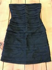 Twenty One Black Small S Strapless Dress Ruffle Front Zip Back Summer Party