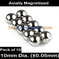 10pcs 10mm Dia N42 Neodymium Sphere Magnets NdFeB Rare Earth Magnetic DIY Balls