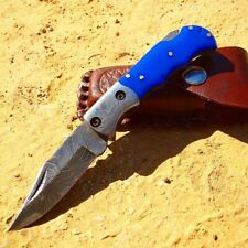 "6.5"" Damascus Blade Folding Knife Blue Handle With Leather Sheath"