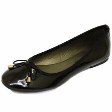 LADIES FLAT BLACK PATENT SLIP-ON WORK SCHOOL SHOES DOLLY BALLET PUMPS SIZES 3-8
