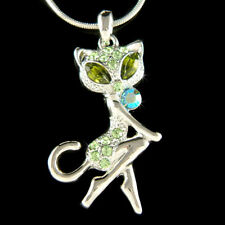 ~Sexy Green Kitty Cat Kitten made with Swarovski Crystal Necklace Animal Jewelry