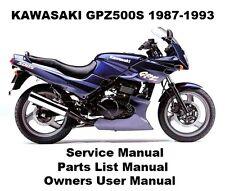 GPZ500 Service Workshop Repair Parts List Owners Manual PDF on CD-R EX500 NINJA
