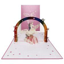 Rainbow Unicorn 3D Pop Up Greeting Card Kid Birthday Party Invitation Cards wcx