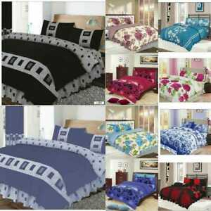 4 Pieces PCS Complete Bed Sets Duvet Cover Fitted Sheets, single, double, king