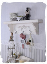 Wall Shelf Vintage Wardrobe White Hanging Shabby Wood Metal Hook