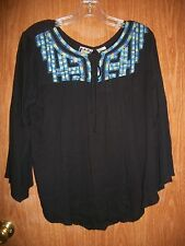 NWT TAKE TWO BLACK  EMBROIDERED FRONT LACE UP TOP SIZE SMALL Ret $36.00 BOHO