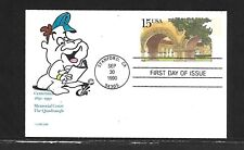 USA 1990 HAND PAINTED QUDRNGLE STNFRD UNI.RICHARD ELLIS ANIMATED FIRST DAY COVER