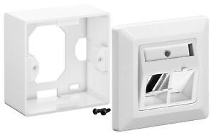 Keystone Dose Anschlussdose für bis zu 2 Keystones LAN Aufputz & Unterputz weiss