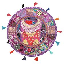 """Indian Round Patchwork Floor Cushion Cover Couch Embroidered Cotton 22"""" Vintage"""