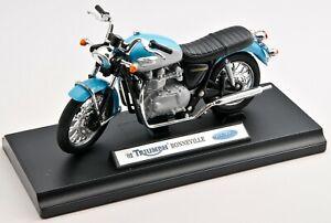 BLITZ VERSAND Triumph Bonneville 2002 blau Welly Motorrad Modell 1:18 NEU & OVP