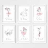 Pink & Grey Ballerina Girls Nursery Art Prints Childrens Bedroom Pictures Decor