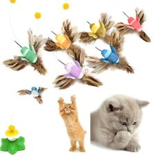 Electric Rotating Bird Rod Wire Teaser Fun Play Plastic Toy For Pet Cat Random