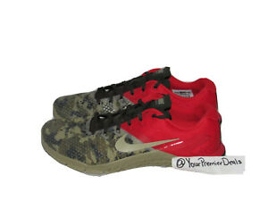 Nike Metcon 4 XD Cross Training Shoes Grey Camo Crimson BV1636-800 Size 11.5
